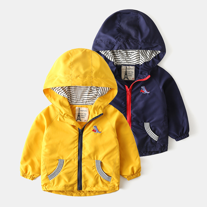 Children's zipper coat 2020 new boy's Hoodie clothing spring autumn dinosaur embroidery 2-7T baby stormsuit jackets