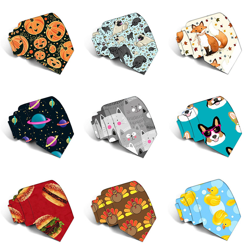 3D Printed Business Party Wedding Men Ties Funny Pattern Cute Animal Food Polyester Slim Neckties For Men Shirt Accessories