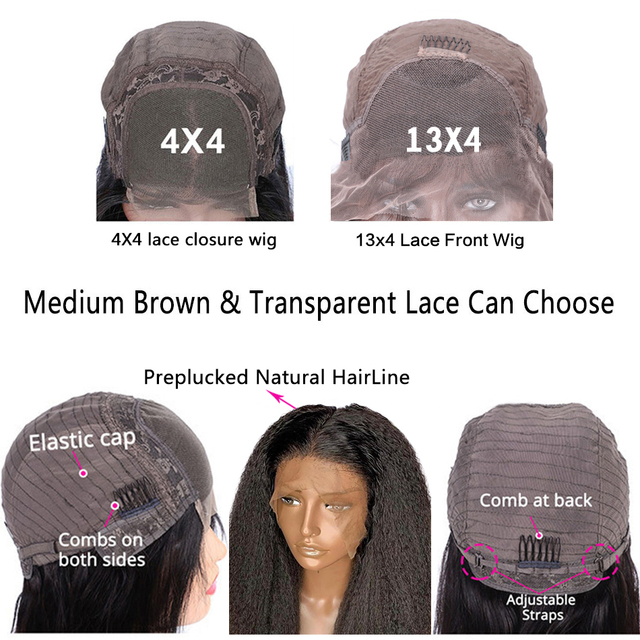 Kinky Straight Wig 13x4 Transparent Lace Wigs Brazilian Kinky Straight Full Lace Wigs Human Hair 4x4 Closure Yaki Human Hair Wig