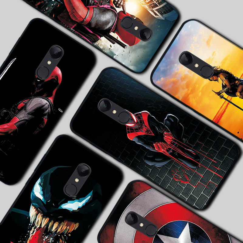 Black TPU <font><b>Case</b></font> For <font><b>Xiaomi</b></font> <font><b>Redmi</b></font> <font><b>Note</b></font> <font><b>4</b></font> 4X 7 7A Silicon Deadpool Cover Bumper Shell For <font><b>Xiaomi</b></font> <font><b>Redmi</b></font> <font><b>Note</b></font> 5 6 Pro Cute Phone Bags image