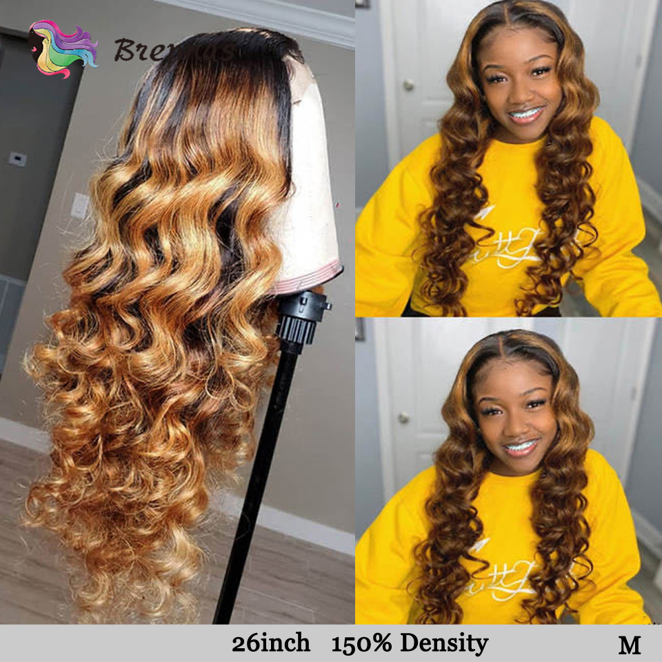 Ombre Loose Wave Lace Front Human Hair Wigs For Women Bleached Knots 13x6 Lace Wig 1B27 Brown Color Brazilian Remy Hair Brennas