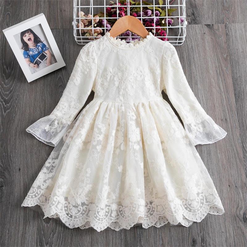 New Arrival Petal Sleeve Girls Spring Summer Dress Flower Wedding Dresses Solid Children Party Costumes Kids Baby Clothing 3 7Y 3