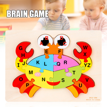 New Wooden Alphabet Puzzle Toys Cute Cartoon Animals Building Blocks Fun Early Educational Assembly Toys For Children Juguetes