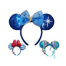 Disney Hair Bows Ears Headband Holiday party Blue fairy Bows Hairband EARS COSTUME Headband Cosplay Plush Adult/Kids Gift