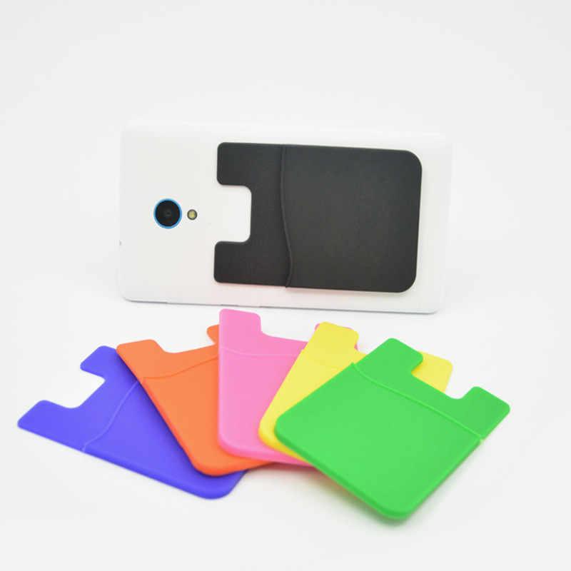 TPU ambiental extraíble Stick-on funda Universal Delgado bolsillo crédito Mini BOLSA titular de la tarjeta adhesivo cartera teléfono trasero