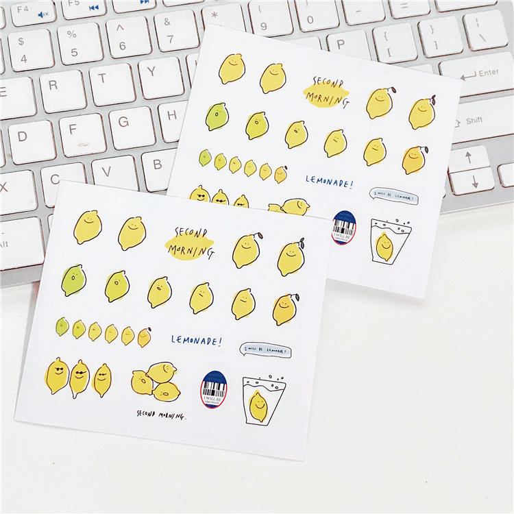 2pc Lemon Expression Cartoon Cute Stickers Korean Ins Simple Sealing Paster Laptop Mobile Phone Decorative Sticker Stationery