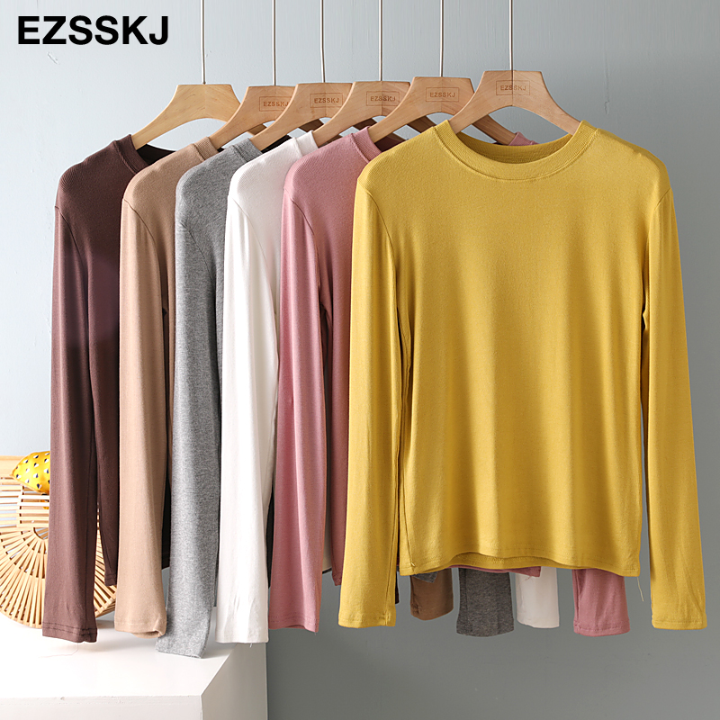 autumn winter bottom cotton long sleeve o-neck T Shirt Women long Sleeve casual basic T shirt solid Color Tee top Female top 3