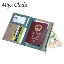 Passport bag leather anti-theft travel wallet multi-function zipper ultra-thin ticket holder document bag