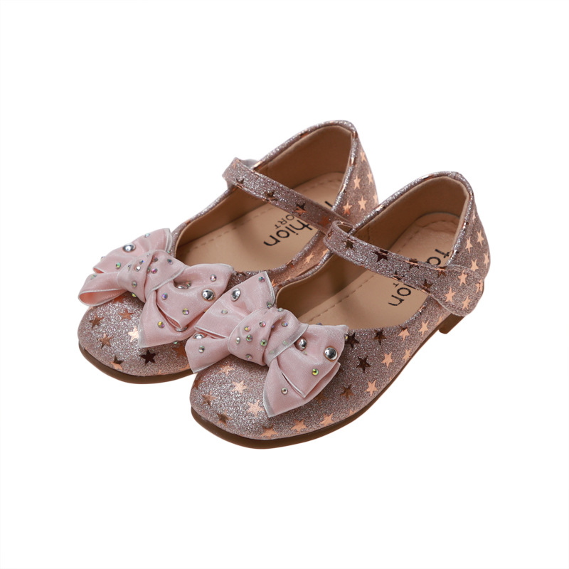 Spring Autumn Kids Shoes Girls Rhinestone princess shoes For Wedding And Party chaussure fille black pink Silver 3 15Year Old in Leather Shoes from Mother Kids