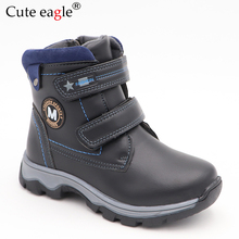 все цены на Children Boots Autumn And Winter Leather Boys Shoe Fashion In The Calf Snow Boots Wool Plush Warm Waterproof Kids Martin Boots онлайн