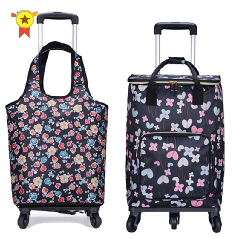 Travel Suitcase Bag,Cabin Luggage,Oxford Cloth Handbag With Wheel ,Grocery Shopping Cart,52*35*18 Cm Rolling Trolley