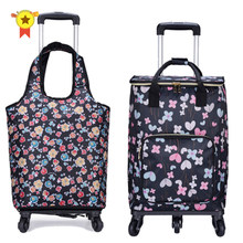 Travel Suitcase Bag,Cabin Luggage,Oxford cloth Handbag with wheel ,Grocery shopping cart,52*35*18 cm Rolling Trolley(China)