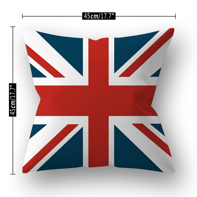 Single Side Printing Decorative Pillow Case Super Soft Short Velvet National Flag Designer Cushion Cover 45x45 Sofa Home Decor in Cushion Cover from Home Garden