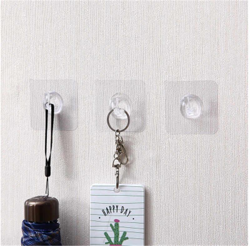 1 pièces ventouses adhésives transparent crochets forts pour le support de cuisine mur cintre sur la salle de bain adhésif crochet mur