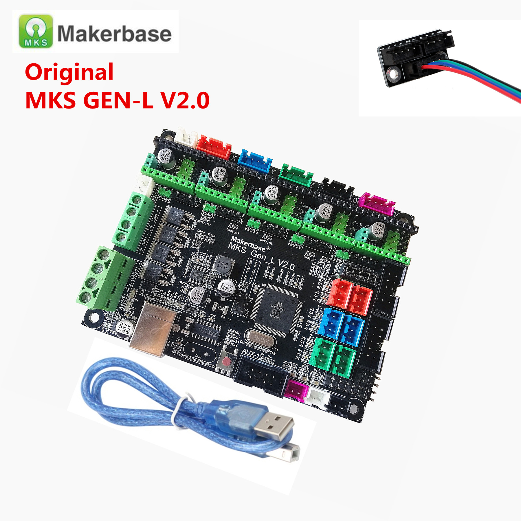 Makerbase MKS GEN L V2.0 3D Printer Card Control Mainboard Support A4988 DRV8825 Tmc2100 Tmc2208 Lv8729 Tb6600 Dual Extruder