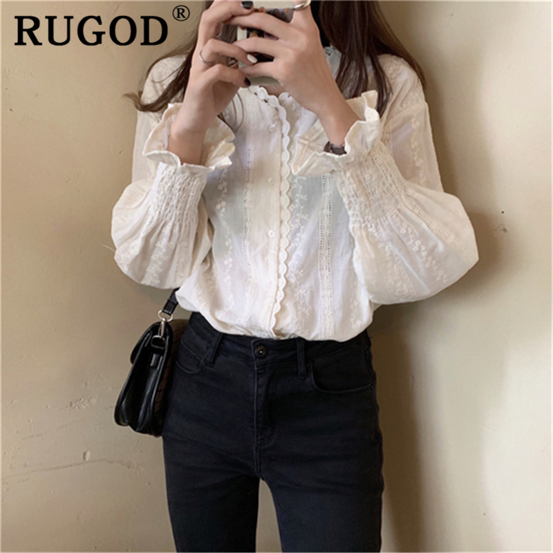 RUGOD Elegant White Hollow Out White Women Blouse Korean Ruffles V Neck Lantern Sleeve Sweet Shirts Casual Floral Print Tops