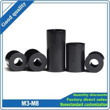 25 pçs preto branco abs náilon não-rosqueado espaçador oco impasse arruela m3 m4 m5 m6 m8 diâmetro interno id 3 4 5 6 8mm parafuso