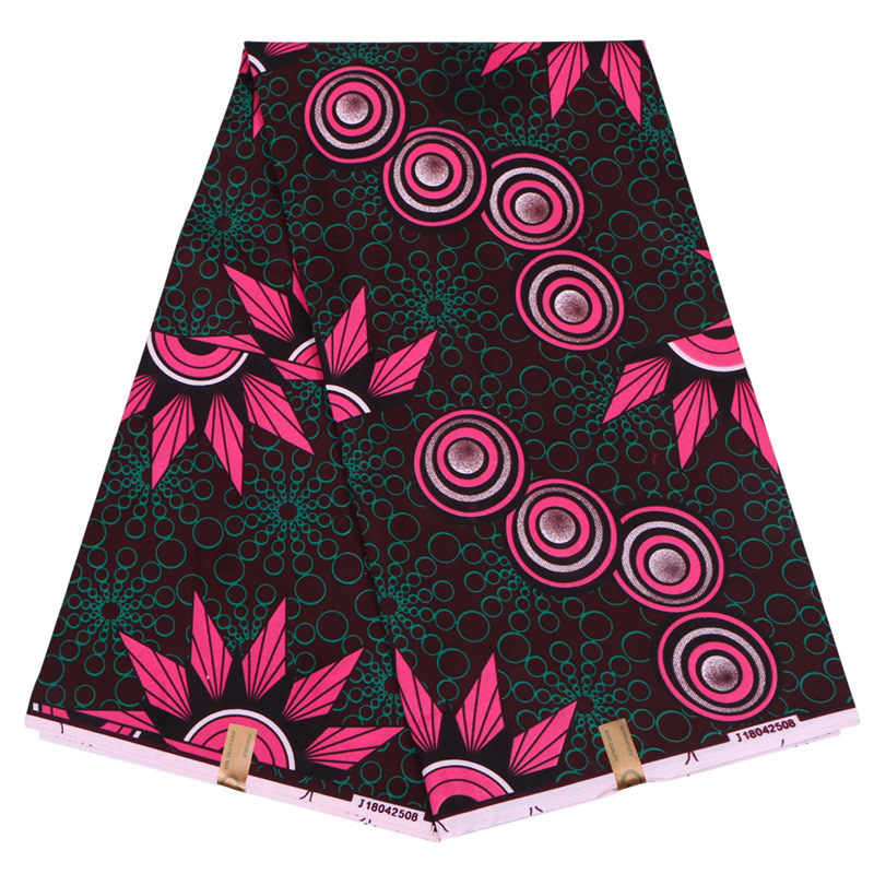 100% Polyester Rose Red And Green Floral Printed African Guaranteed Veritable Wax Real Printed Fabric 6Yards