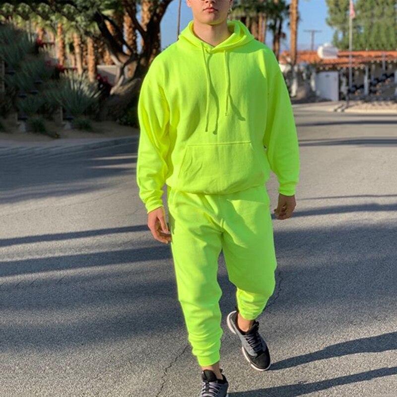 네온 그린 스타일 남자 패션 tracksuit 솔리드 2 조각 긴 소매 hoody + 느슨한 swearpants 캐주얼 sportsuit 남자 2019 최신 omsj