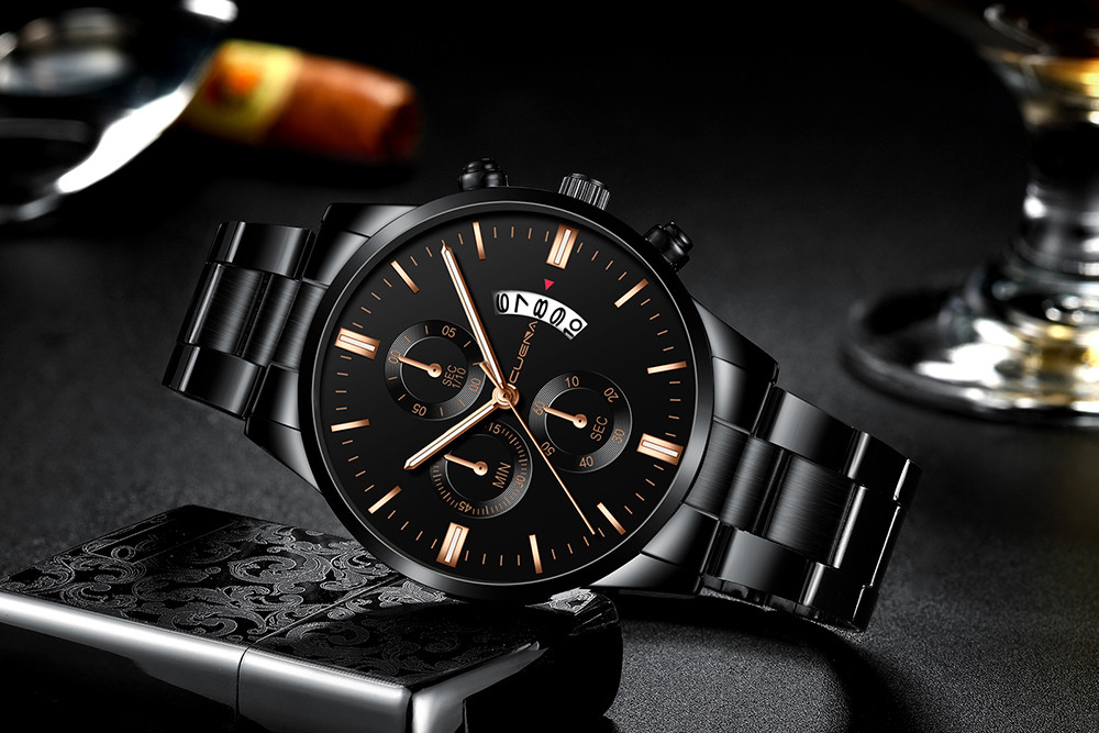 2019 Hot Sell CUENA Men Watch Luxury Men's Stainless Steel Sport Quartz Watches Analog Date Hours Wrist Watch Relogio Masculino