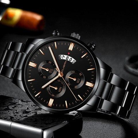 2019 Hot Sell CUENA Men Watch Luxury Mens Stainless Steel Sport Quartz Watches Analog Date Hours Wrist Watch relogio masculino Pakistan