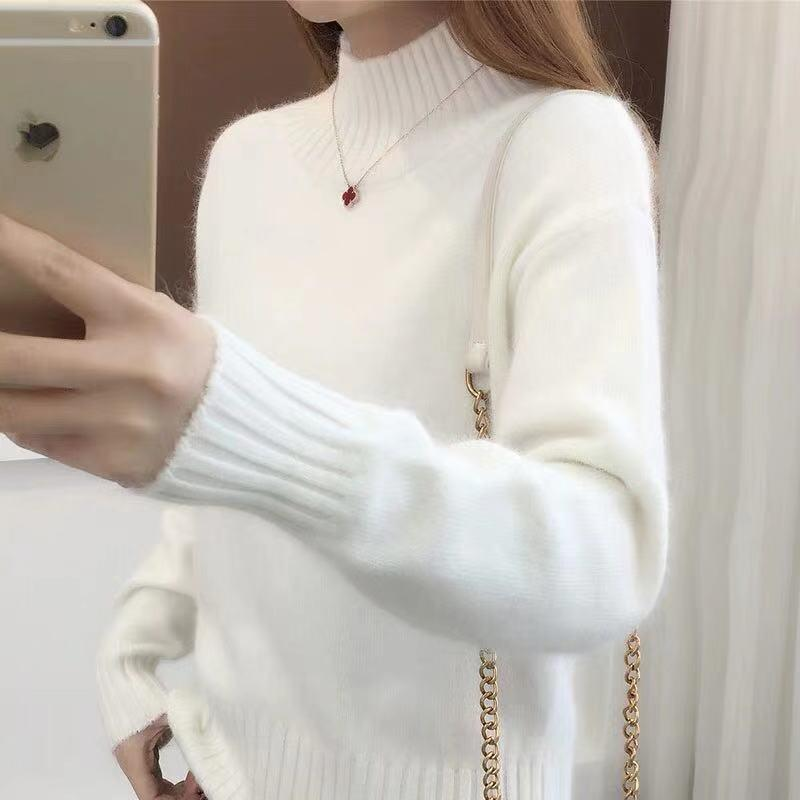 Warm Knitted Sweater Women Tops Autumn Winter Turtleneck Pullovers Female Long Sleeve Solid Color Knit Pullover Womens Sweaters