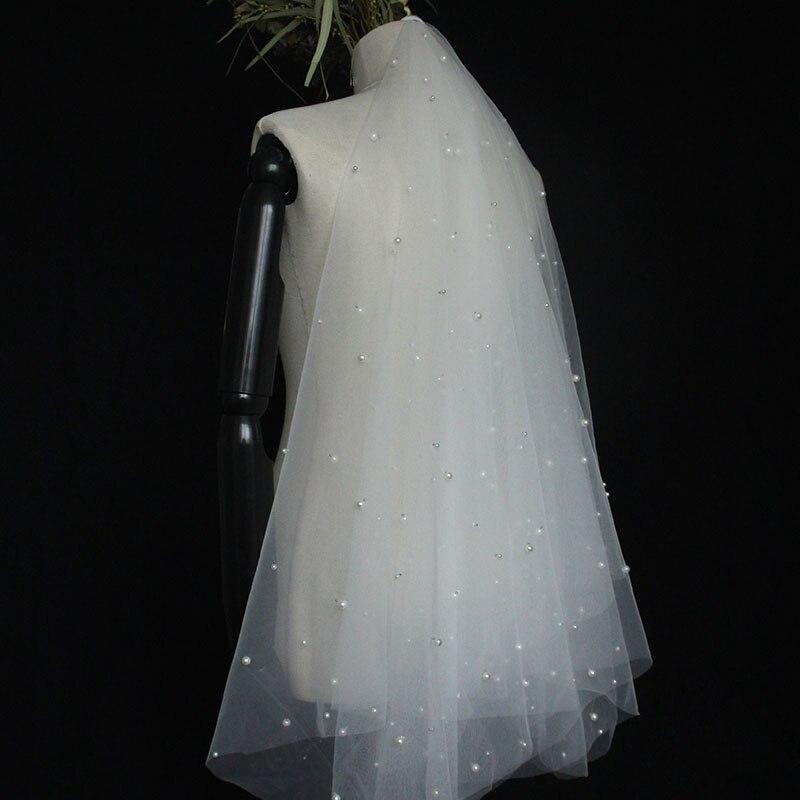 White, Light Champagne Wedding Veils Short Wedding Accessories Bridal Veils