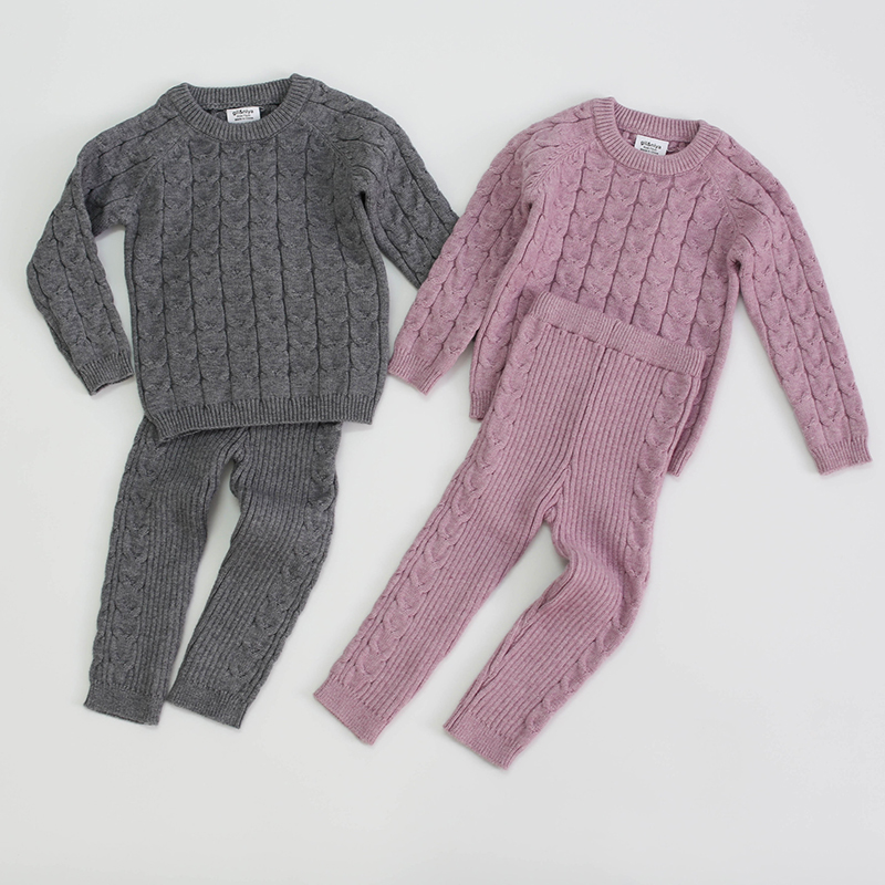 Autumn Toddler Baby Boys Girls Knit Clothing Set Infant Boys Suit Thick Warm Winter Baby Girls Boys Clothes Set Sweater+Pants 1