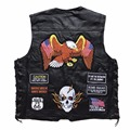 Men Vest Sheep Real Leather Embroidery Motorcycle Man Clothes New Fashion Punk Sleeveless Jacket Clothing Plus Size Waistcoat