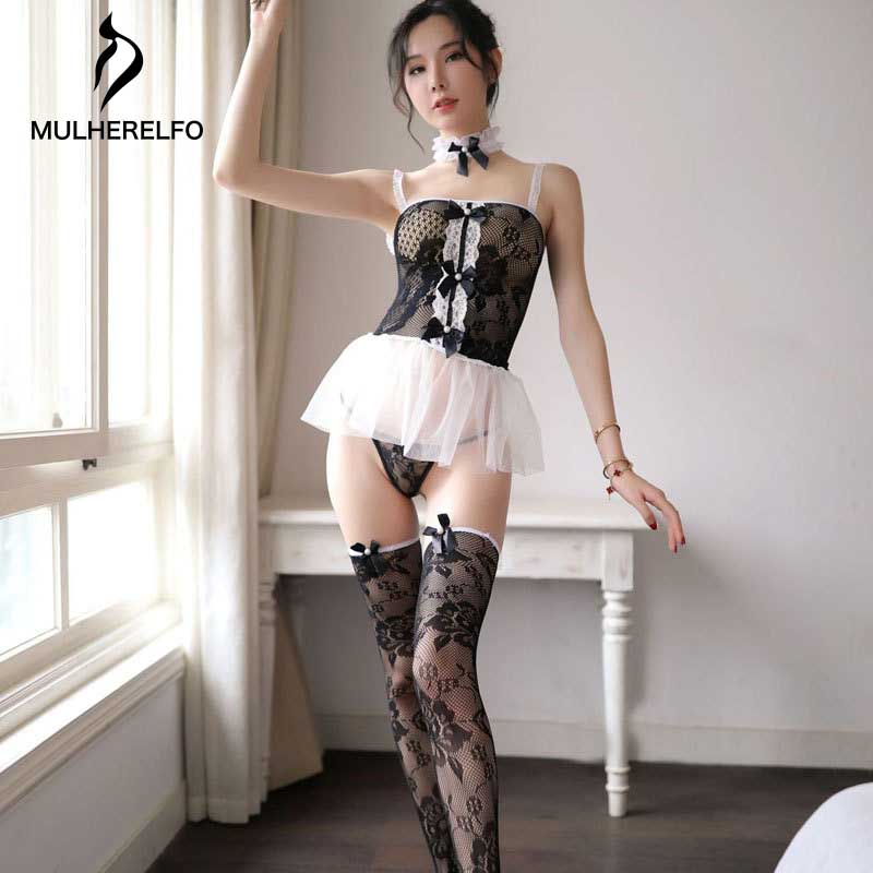 Camisole Bow Stitching Openwork Sleeveless Woman Lingerie Fashion Sexy Night Dress New Black Mini Home Lady Sexy Nightwear