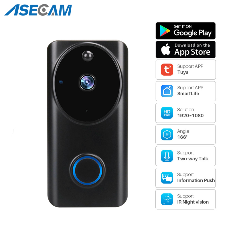 Intercomunicador de vídeo inteligente, campainha, vídeo inteligente, 1080p, controle por app, chamada telefônica, campainha, porta, monitor de segurança para casa, câmera de visão noturna