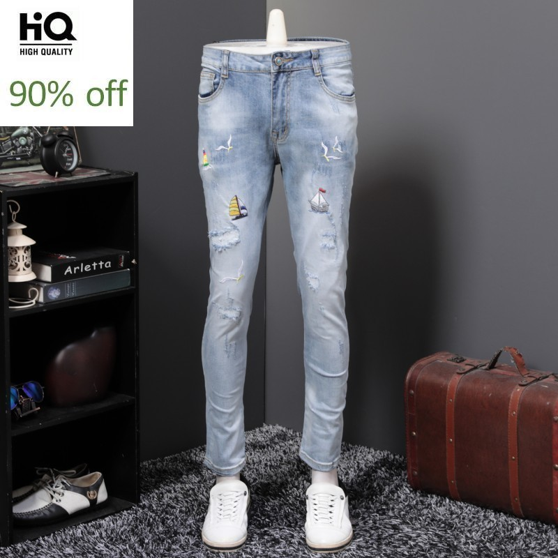 Spring Summer High Quality Mens Full Length Embroidery Ripped Denim Pants Slim Fit Stretch Fashion Casual Streetwear Jeans Homme