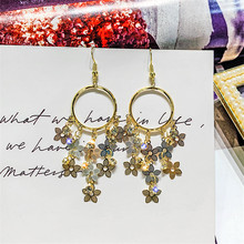 FYUAN Geometric Round Drop Earrings for Women New Gold Flower Rhinestone Dangle Fashion Jewelry Gifts