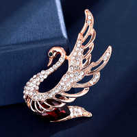 Classic 3 color rhinestone crystal swan brooch pin elegant animal fashion pin and jewelry brooch for female Christmas party gift