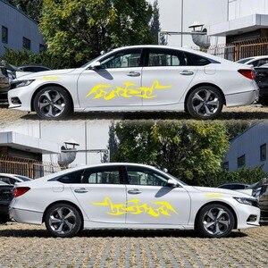 Image 4 - รถ Decals ด้านข้างยาวลายไวนิลเปลวไฟ Decals สติ๊กเกอร์ตกแต่งสติกเกอร์รถใหม่