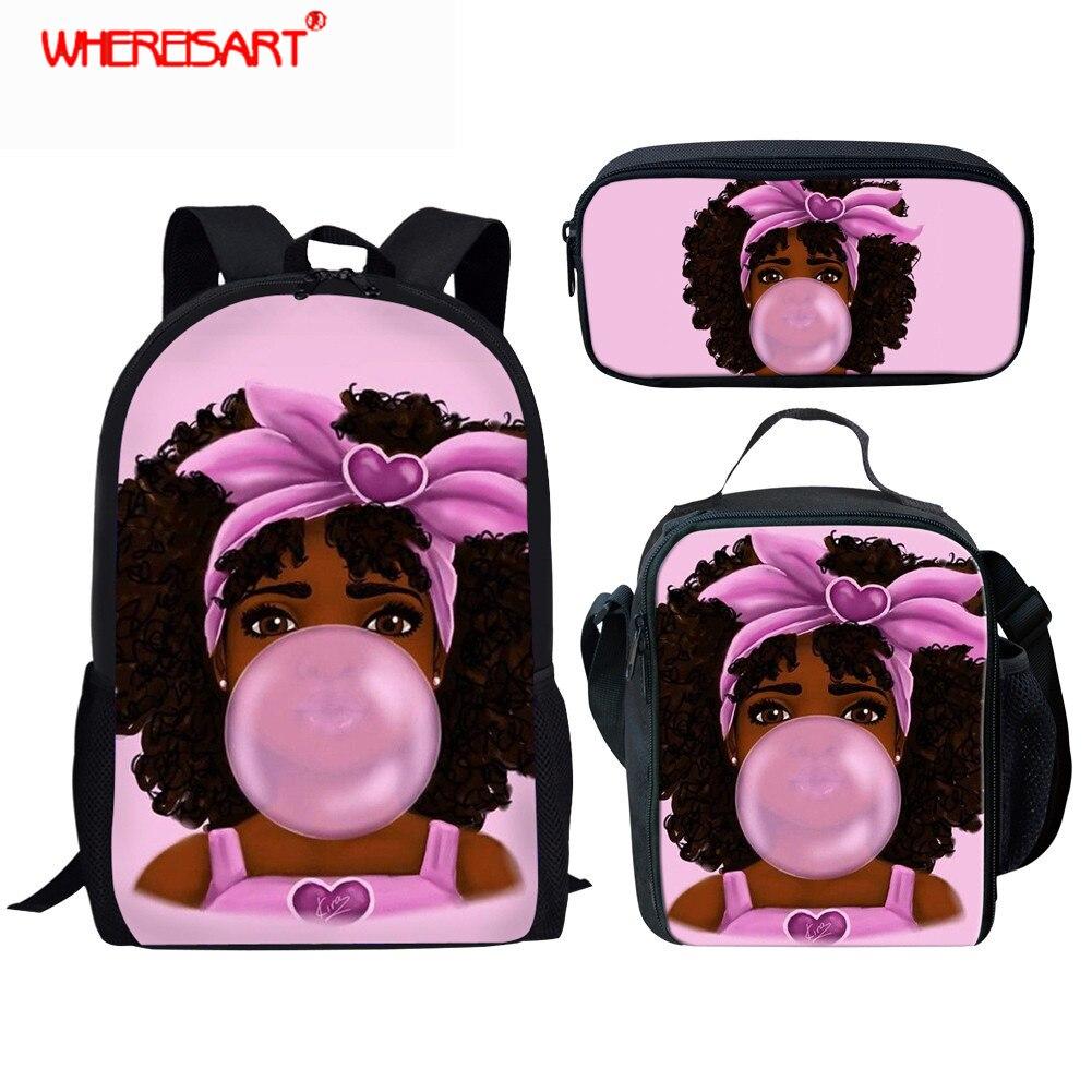 WHEREISART African Girls Children Backpacks Pencil Bag 3Pcs/set Portfolio School Bags For Girls Afro Black Art Bookbag Satchel