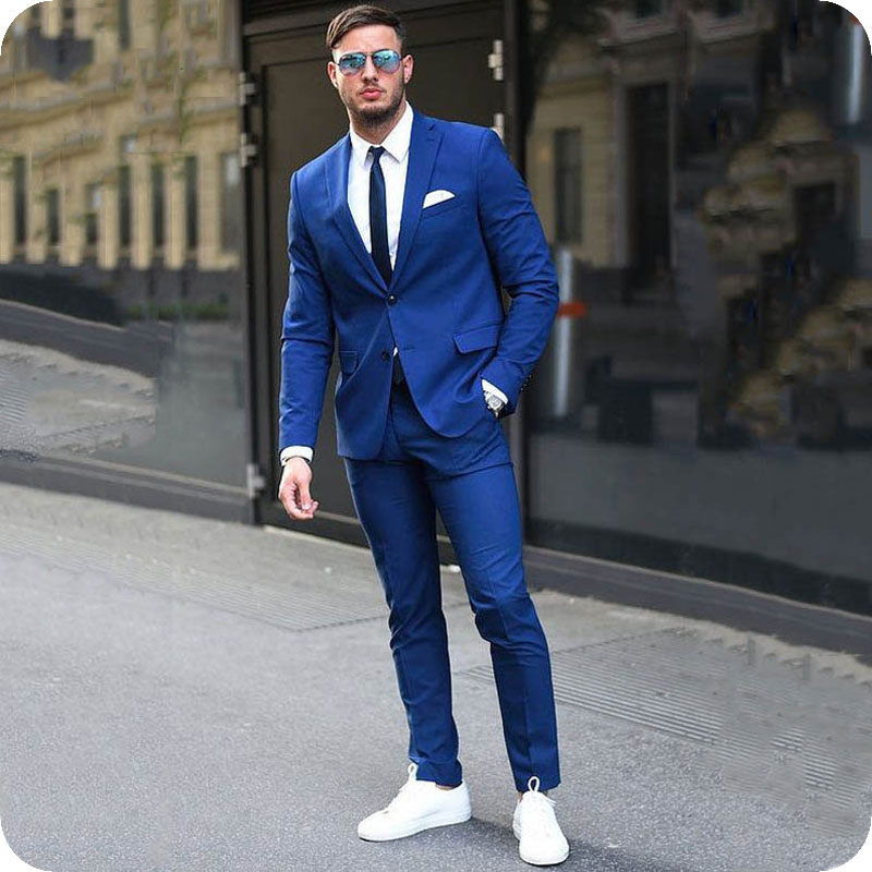 Royal Blue Men Classic Suits For Business Slim Fit Groom Tuxedo Custom Made Man Blazer Jacket 2Piece Costume Homme Prom Ternos