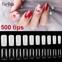 Florvida 500pcs Kit Full False Nails Acrylic Fake Nail Tips Plastic Long Natural Transparent Design for Art Manicure Set
