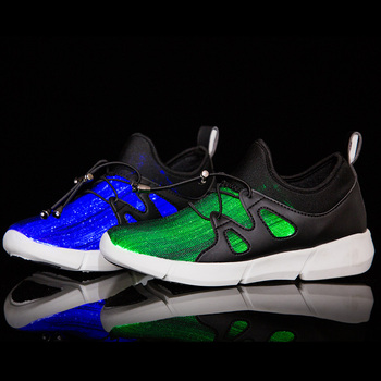 2019 Little Kids Led Fiber Optic Shoes For Girls And Boys USB Charger Glowing Sneakers Man And Women Light Up Shoes Size 25-40