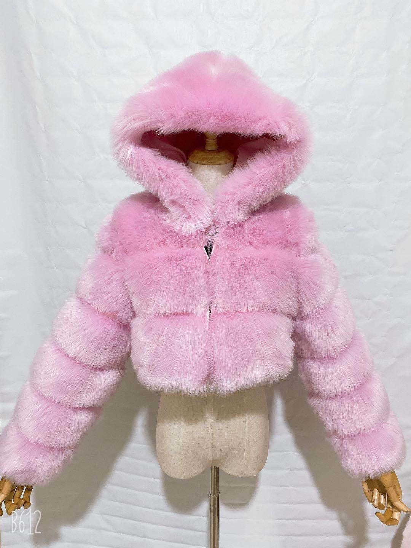 H3d8fb8effd5a476b858f80697ce36f70A GAMPORL Fashion Winter High Quality Faux Fox Fur Coat Women Vintage Long Sleeve With Cap Slim Short Jackets Furry Coat Femme