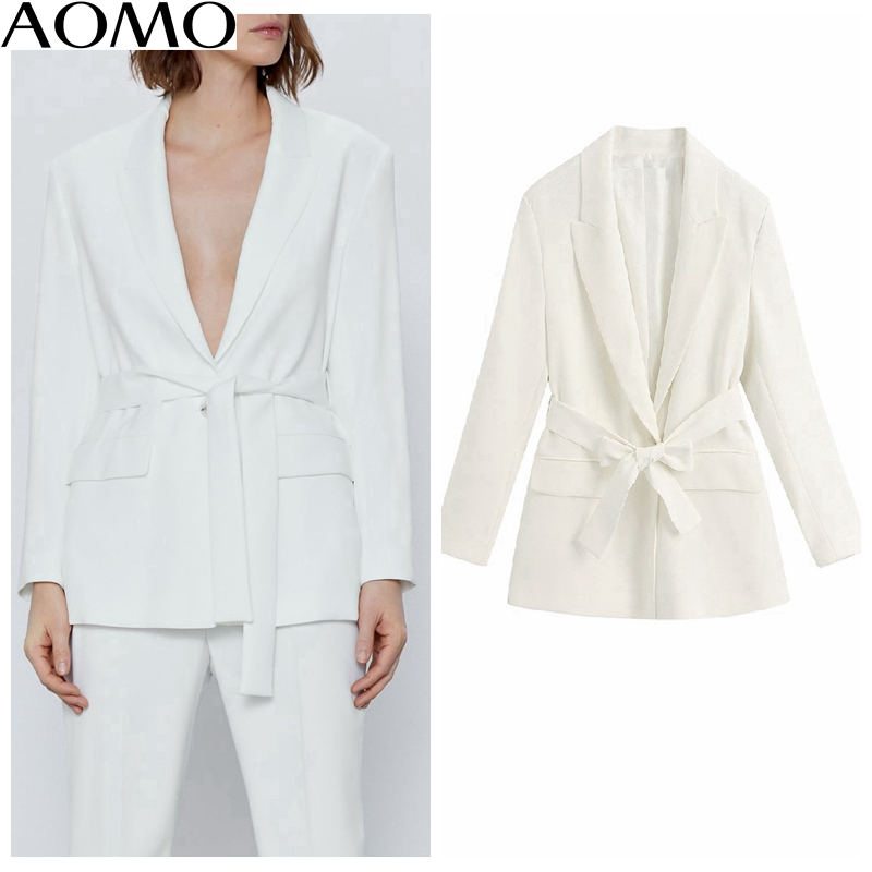 AOMO  Casual Women White Blazer With Slash Long Sleeve Elegant Jacket Ladies Work Wear Blazer Formal Suits BE331A