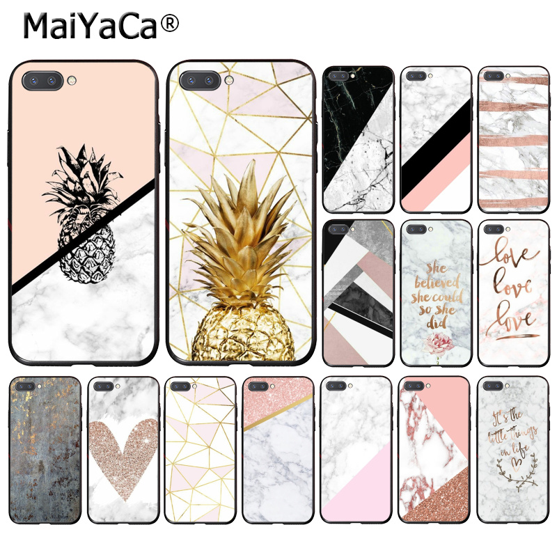 MaiYaCa Art White Black Pink marble pineapple Phone Case for Huawei Honor 8X 9 10 20 Lite 7A 5A 7C 10i 20i View20 image