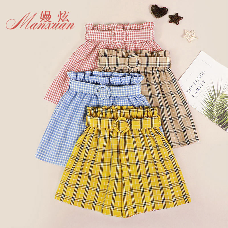 NiceMixSelf Tie Waist Bow Casual Plaid Shorts 2020 Summer Cute Mid Waist Straight Leg Shorts Women Elastic Waist Office Ladies E