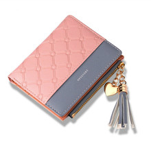 US $4.0 |Tassel Leather Wallet Women Small Luxury Brand Famous Mini Women Wallets Purses Female Short Coin Zipper Purse Cartera Mujer-in Wallets from Luggage & Bags on AliExpress