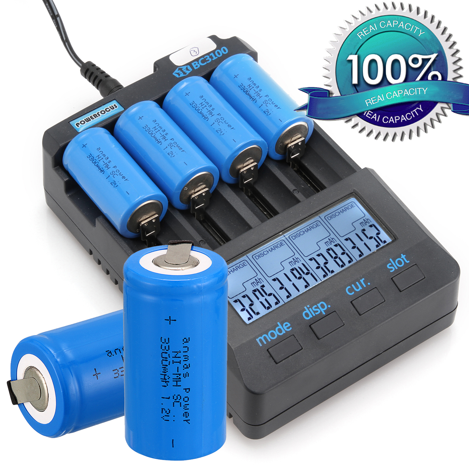 Anmas Power 2/4/8 PCS Sub C SC 1.2V 3300mAh Ni-MH NiMH Rechargeable Batteries 1.2 V Battery Blue 56 G With Tab