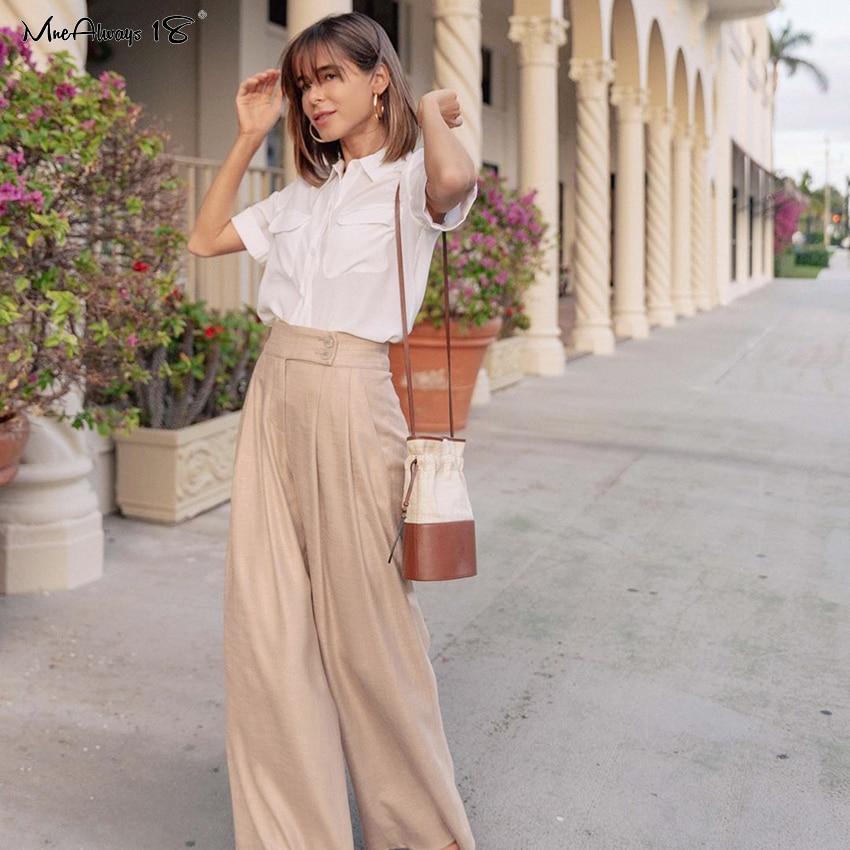 Mnealways18 Pleated Wide Leg Pants Loose Ladies Office Trousers Baggy Pants Straight Summer Women'S Trousers Elegant High Waist