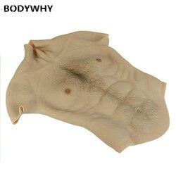 Realistica Falso Addominale Ventre Muscolare Macho Artificiale Del Silicone Realistico di Simulazione Muscolo Pettorale Uomo Della Pelle Del Corpo Tette Finte