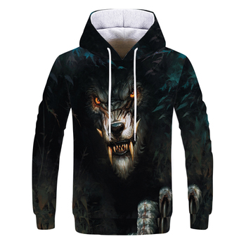 Fox and Wolf 3D Spring and Autumn New Printed Men's and Women's Hoodie Harajuku Boys Sweatshirt 3D Printing Pullover недорого