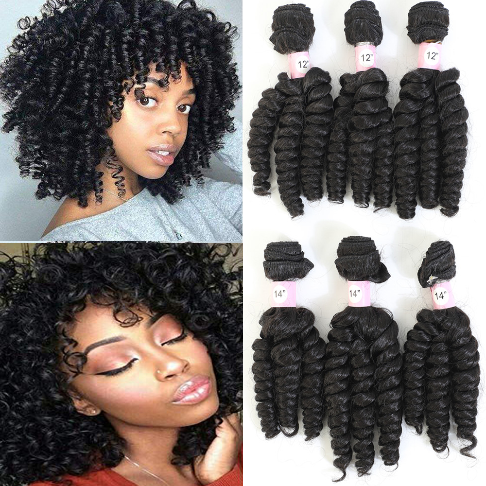 Live Beauty Bouncy Curly Hair Weave 6 Bundles Natural Color 200g All In One Pack Soft Smooth Funmi curl Synthetic Hair Extension