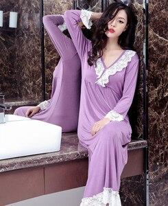 Image 2 - Kobieca odzież do snu wiosenna i jesienna koszula nocna z długim rękawem modalna koronkowa koszula nocna z dekoltem w serek elegancka księżniczka długa spódnica do spania